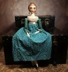 OOAK Regency 18 Doll Teal and Tan Quatrefoil Floral Gown