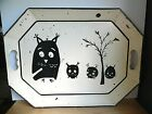 RARE Vintage Tole Painted Pilgrim Art Abstract Owl  Babies Serving Tray 148