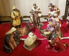 Rare Grandeur Noel 9 Piece Large Christmas Hand Painted Porcelain Nativity Set