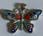 Sterling Silver Murano Millefiori Butterfly Pendant designed By Alan K Italy