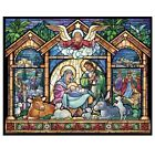 Vermont Christmas 1000 Piece Puzzle Stained Glass Nativity NEW In Sealed Box