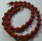 Vintage Hand Painted Floral Glass Bead Necklace W Brass  Coral Spacers