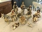 12 Vintage Large Paper Mache Nativity Figures WHITE  GOLD Japan 8 see below