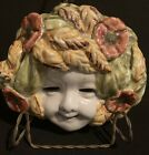 Vintage Italian Pottery Majolica MASK FACE CHILD BACCHUS Wall Plaque Flowers