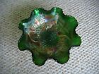 Vintage 1960s Green Rainbow Carnival Glass Bowl in Fentons Sag  Holly Pattern
