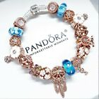 PANDORA SILVER BRACELET WITH ROSE GOLD LOVE HEART  BLUE GLASS EUROPEAN CHARMS