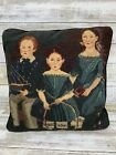 Vintage Petit Point Needlepoint Pillow Victorian Portrait Children Boy Girls
