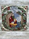 Petit Point Needlepoint Nativity Pillow Baby Jesus Virgin Mary Joseph Christmas