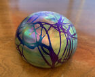 Vintage Hand Blown Aurene Iridescent Art glass G Levay Paperweight Signed