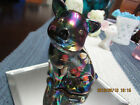 BEAUTIFUL FENTON BLUE CARNIVAL GLASS PIG W FLOWERS SIGNED