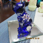 FENTON COLBALT BLUE SITTING KITTY HP  SIGNED