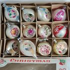 12 Vtg Glass 2 Pastel Christmas Ornament Boxed indent teardrops mica Poland