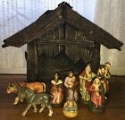 Vintage Nativity Set Figures West Germany Wooden Crche