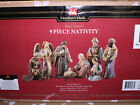 Members Mark Christmas Nativity Set Large 9 Pc Hand Painted Indoor Outdoor NIB