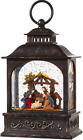 Nativity Scene Lighted Christmas Snow Globe Lantern Swirling Glitter Water Decor