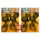 8 Indiana Glass Thumbprint Green Kings Crown Footed Water Goblets 5 5 8 EUC