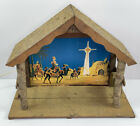 Vtg Wood Christmas Creche Nativity Stable Large Music Box Lighted Japan Manger