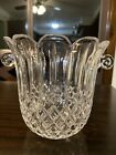 Crystal Cut Glass Ice Bucket Wine Champagne Chiller Cooler Art Scroll Handles