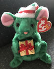 Tidings Green Christmas Mouse Beanie Baby Holding Present Gift 10yr Anniversary