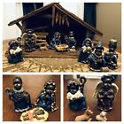 Black African American NATIVITY SCENE SET Stable Figures Child Portrayed