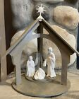 Vintage Avon Nativity Collectibles Display Stand With Holy Family Figurines