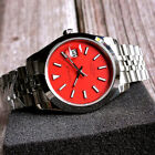 395mm Parnis Red dial Steel Sapphire Glass Miyota Date Automatic mens Watch