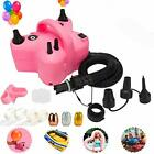 ELECTRIC BALLOON PUMP Portable Dual Nozzle Blower Inflator Pink 110V HOME KITTY