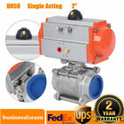 Pneumatic Air Actuated Stainless Ball Valve 2 Single Acting Spring Return USA