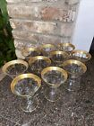 CRYSTAL GOLD ENCRUSTED GLASS EMBELLISHED RIM BAND Set Of 10 Pieces