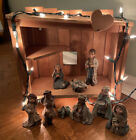 SARAHS ATTIC NATIVITY SET LIGHT UP 11 Pieces MARY JOSEPH JESUS ANGEL Rare