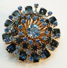Vintage Signed Austria Juliana Style Sapphire Blue Rhinestone Brooch Pin Large
