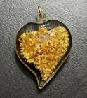 24k Gold Flakes Glass Puffy Heart Pendant