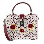 DOLCE  GABBANA Hand Painted Poppy Plexi DOLCE BOX Bag Clutch White Red 08999