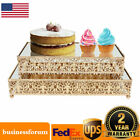 Rectangle Cake Stand Glass Top Mirror Dessert Wedding Party Display Pedestal USA