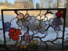 Jens Glassworks Stained Glass Panel Handmade Spring Flowers 20 X 13 1 2