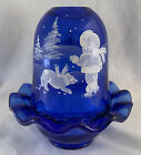 Fenton Hand painted Cobalt Blue Mary Gregory Fairy Lamp Girl  Dog