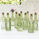 Vintage Glass Bottles with Corks Bud Vases Assorted Shapes 5 Inch Tall Mini