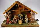 Vintage Nativity Set Manger With 11 Attached Figures Lights Up