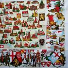 Vintage German Tablecloth Pictorial Maps Cities Landmarks Coats Of Arms 64 x 51