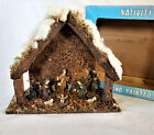 CHRISTMAS NATIVITY CRECHE STABLE HAND PAINTED WOOD MOSS pink blue box Vtg 11pc