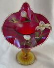 Fenton Jack in the Pulpit Vase Red Amberina stretch glass hand painted