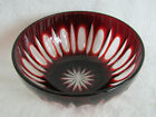 Ruby Red Cut to Clear Glass Vintage Fingertip Candy Bowl