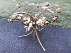 Vintage Gilded Gold Metal Glass Wheat Bouquet Roses Flower Side Table ITALY