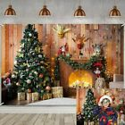 Christmas Eve Fireplace Theme Photography Backdrop Xmas Tree Gift Blanket Birth