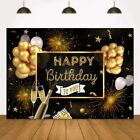 7x5ft Happy Birthday Backdrop Black and Gold Balloons Banner for Men Women Birth
