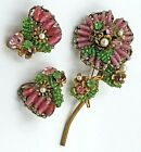 RARE Amourelle Floral SetPink Green Art GlassCrystalsPearlsFiligreeSigned
