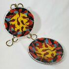Peggy Karr Fused Glass Plate And Bowl Red Hot Chili Jalapeno Pepper Yellow Black