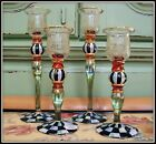 NWT SET OF 4 RETIRED BLOOMING MACKENZIE CHILDS GLASS CANDLESTICKS COURTLY CHECK