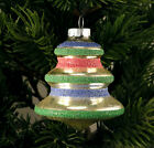 Vintage Shiny Brite USA Colored Mica Glass Christmas Tree Bell Shaped Ornament