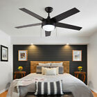 JW LIGHTING 52 inch Ceiling Fan Matte Black with LED Light Pull Chain Control